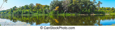 Panorama of forest river on a Sunny day