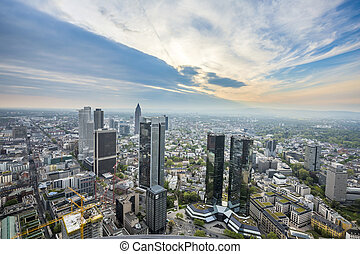 panorama of Frankfurt am Main with skyscrapers