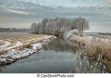 Panorama of Frozen river Drentsche Aa in northern part of...