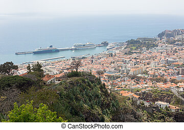 Panorama of Funchal and its Marina on the island Madeira, Portugal