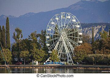 Panorama of Garda Lake in Bardolino with Ferris wheel 2