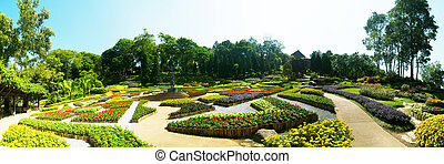 Panorama of Garden of Doi Tung Royal Villa, Chiang Rai,...