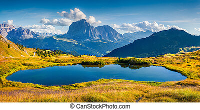 Panorama of Gardena valley with Sassolungo (Langkofel)...
