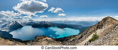 Panorama of Garibaldi lake from Ridge - Garibaldi lake...