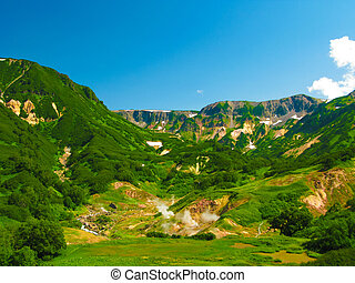 Panorama of Geysers Valley, Kamchatka peninsula, Russia - ...
