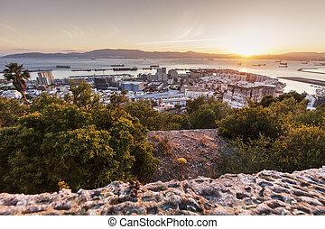 Panorama of Gibraltar at sunrise