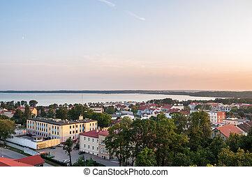 Panorama of Gizcyko with Niegocin Lake in the Masurian Lakes...