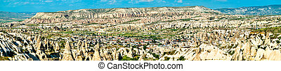 Panorama of Goreme, a town in Cappadocia, Turkey