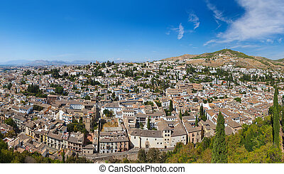 Panorama of Granada Spain - view from Alhambra palace