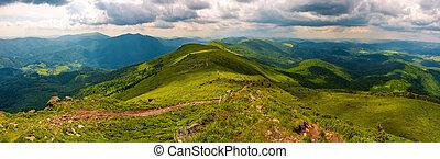 panorama of great Carpathian water dividing ridge. beautiful...