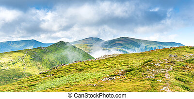 Panorama of green mountains with peaks