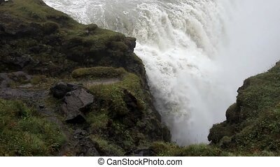 Panorama of gullfoss waterfall. Beautiful nature of Iceland...