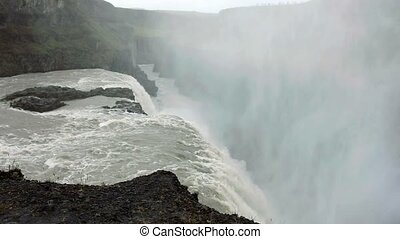 Panorama of gullfoss waterfall. Beautiful nature of Iceland...