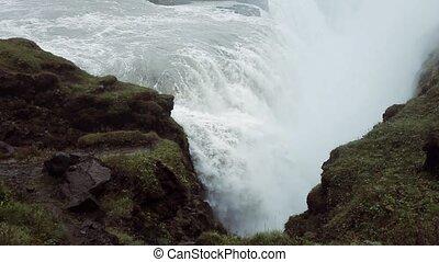 Panorama of gullfoss waterfall. Beautiful nature of Iceland