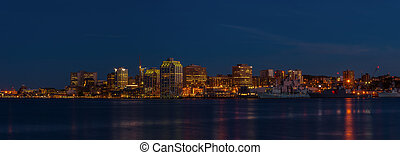 Panorama of Halifax Nova Scotia at night (taken from across...