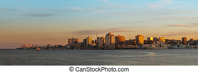 Panorama of Halifax Nova Scotia at sunset (taken from across...
