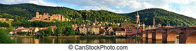 "Panorama of Heidelberg, Germany, showing the ""Old Bridge""..."