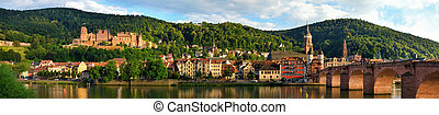 "Panorama of Heidelberg, Germany, showing the ""Old Bridge""..."