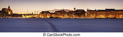 Helsinki seen from frozen Baltic Sea