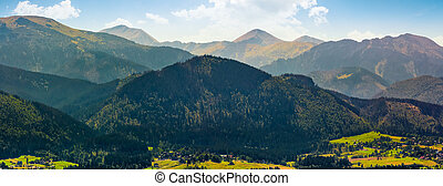 Panorama of High Tatras mountain ridge in Poland...