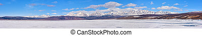 Panorama of highest mountain in Sayan Mountains from Hovsgol...