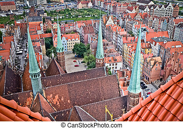 panorama of historic city of Gdansk, Poland