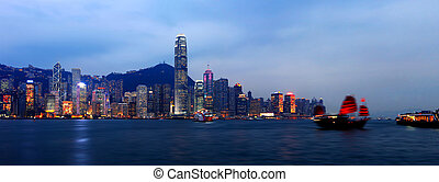 Panorama of Hong Kong Skyline at night