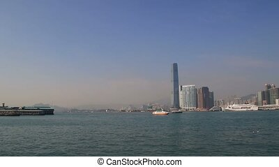 Panorama of Hong Kong Victoria Harbour cityscape - Beautiful...
