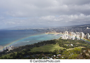 honolulu from diamond head with rainbow