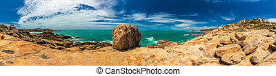 Panorama of Horseshoe Bay at Bowen - iconic beach with granite rocks, north Queensland, Australia
