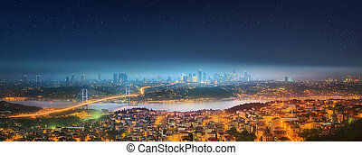 Panorama of Istanbul and Bosphorus bridge at night,...