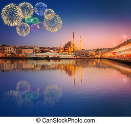 Panorama of Istanbul at a dramatic sunset with fireworks