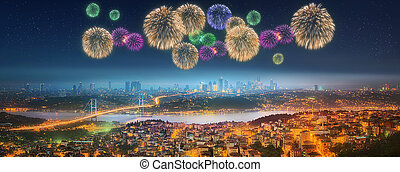 Panorama of Istanbul at night with fireworks - Panorama of...