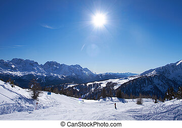 Panorama of Italian Dolomites - View of ski slope in Italian...