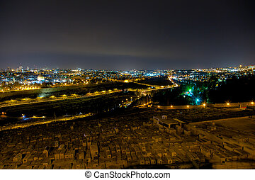 Panorama of Jerusalem at night, Mount of Olives, Middle East