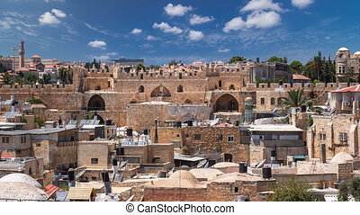 Panorama of Jerusalem Old City and Damascus Gate timelapse from Austrian Hospice Roof, Israel