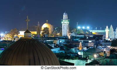 Panorama of Jerusalem Old City and Temple Mount night timelapse from Austrian Hospice Roof, Israel