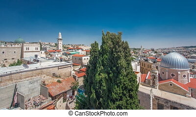 Panorama of Jerusalem Old City and Temple Mount timelapse hyperlapse from Austrian Hospice Roof, Israel