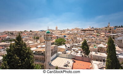 Panorama of Jerusalem Old City and Temple Mount timelapse hyperlapse from Austrian Hospice Roof, Israel. Blue sky