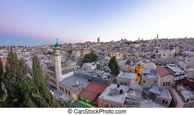 Panorama of Jerusalem Old City day to night timelapse from Austrian Hospice Roof, Israel