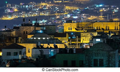 Panorama of Jerusalem Old City night timelapse from Austrian Hospice Roof, Israel
