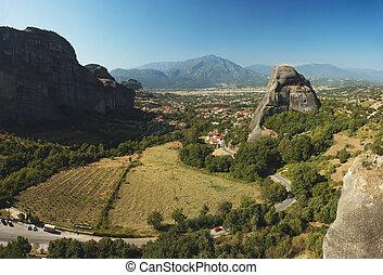 Panorama of Kalampaka from Agios Nikolaos rock monastery,Meteora,Greece,it's unesco world heritage site