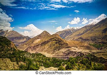 Panorama of Karimabad and Hunza valley, Gilgit-Baltistan, ...