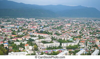 panorama of Khust city background. View from ruin of old...