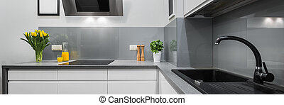 Panorama of kitchen countertops in modern and simple...