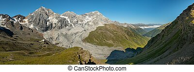 Panorama of Koenigspitze and Ortler on a sunny day in summer...