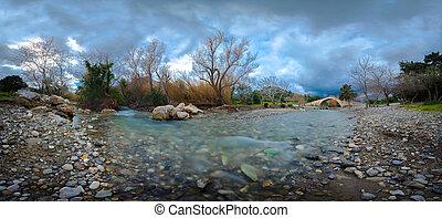 Panorama of kourtaliotis river and a stone arch bridge at Preveli, Crete, Greece