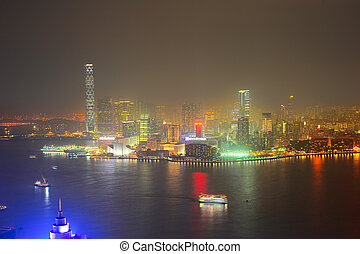 Panorama of Kowloon island at night. Hong Kong