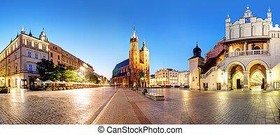 Panorama of Krakow Market Square, Poland at night