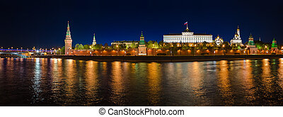 Panorama of Kremlin in Moscow (Russia) at night